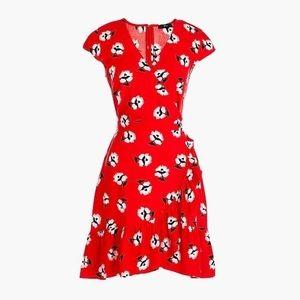 J. Crew Ruffle Red Mini Dress In Dandelion Floral